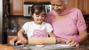 cooking and baking with grandmother